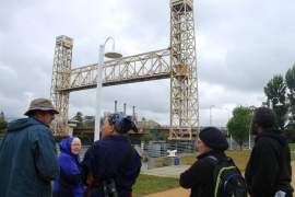 Ilana DeBare  People who attended the April 9 symposium looked for nesting peregrine falcons by the Fruitvale Bridge.