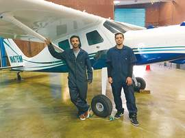 Courtesy photo &nbsp&nbsp College of Alameda Aviation Maintenance Technology students Muse Kebede, left, and Taha Berche.