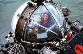 Courtesy DOER  Dr. Sylvia Earle founded Deep Ocean Exploration and Research (DOER) Marine 25 years ago in Alameda. Here she appears in one of her submarines.