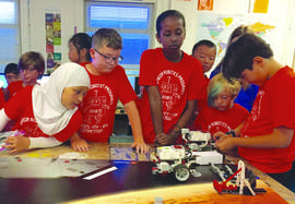 Alameda Education Foundation &nbsp&nbsp  Members of the Ruby Bridges Elementary School's robotics team work on their spacecraft during the 2018 Robotics competition for students in grades 4 to 8 at Wood Middle School on May 12.