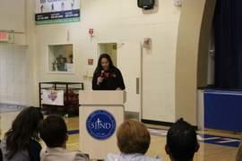 Kiersten Olsen &nbsp&nbsp Emily Perez spoke to the crowd at her signing event.