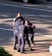 """Video still from residential security camera &nbsp&nbsp Until this footage was released, APD claimed Watkins wasn't """"struck, pushed, slammed or hit."""""""