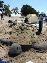 Courtesy ARPD &nbsp&nbsp&nbsp&nbsp  This charming tower of turtles earned the esteem of fellow sand sculptors and architects at this year's Sand Castle & Sculpture Contest.