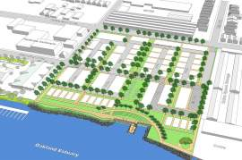 "City of Alameda  Work on the ""Boatworks Green"" development along the Oakland Estuary at Clement Avenue and Oak Street is scheduled to begin next February. It includes open space pictured here."