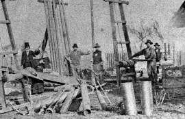 Alameda Museum &nbsp&nbsp Captain R. R. Thompson in the top hat visited the men who bore the first wells for the Artesian Water Works on today's Thompson Avenue.