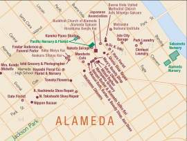 Ben Pease  This map by the Japantown Atlas Project shows the Japanese presence in Alameda in 1940. Japanese businesses included florists, grocers, photographers, shoe repair shops and a midwife.