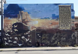 Photos by Dennis Evanosky &nbsp&nbsp The Ghost Ship sails on in this mural on East 12th Street in Oakland. The doves represent the 36 people who lost their lives in the Dec. 2, 2016, fire.