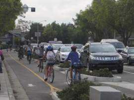 Photos courtesy Bike Walk Alameda, The track on Fernside Boulevard protects children cycling.