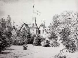"Courtesy Arthur A. Shilt - This sketch of ""Rosebush"" shows James D. Farrell's home ""Homebush"" after the O'Hara Taaffe family moved in."