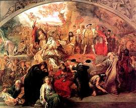 "Courtesy wikipedia.org Sir John Gilbert's 1849 painting ""The Plays of Shakespeare"" contains scenes and characters from several of William Shakespeare's plays."
