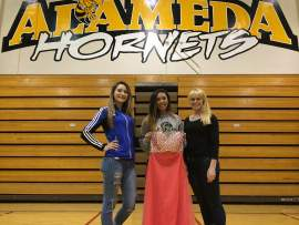 Photo by Randy Rentschler Left to right, Marissa Murphy of St. Joseph Notre Dame High, Marisa Woo of Alameda High and Emily Rentschler of Encinal High are joining forces to create an opportunity to purchase affordable prom dresses.