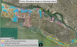 City of Alameda &nbsp&nbsp The City of Alameda released this map designating portions of the Main Island's shoreline that need attention in the event of sea level rise.