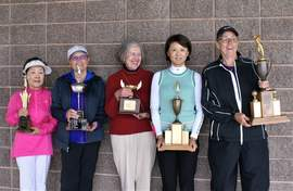 Courtesy photo &nbsp&nbsp Left to right: Flight winners: Vivian Kang, Denise Gasti, Barbara Mickle, Phoebe Yu and Cheryl Saxton who won the challenging Flight A division.