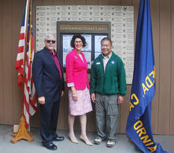 Patrick Kenney &nbsp&nbsp  Left to right: Scout Executive Brian Fasci, Mayor Marilyn Ezzy-Ashcraft and Council President Ben Reyes dedicated the Alameda Council Legacy Wall June 15.