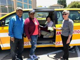 Edgar Zamora &nbsp&nbsp&nbsp From left to right: Rajiv Sharma, owner of First American Transit/Welcome Taxi; LaTanya Wilson, taxi driver for First American Transit/Welcome Taxi; Millie Lum, taxi program participant and Mastick Senior Center volunteer; and, Victoria Williams, paratransit coordinator for the City of Alameda.