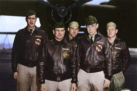 Colorized image by Lori Lang &nbsp&nbsp Bomber crew one took off in the lead bomber of the Doolittle Raid. Left to right: Navigator Lt. Henry A. Potter, Pilot Lt. Col. James H. Doolittle, Bombardier SSgt. Fred A. Braemer, Co-Pilot Lt. Richard E. Cole and Engineer Gunner SSgt. Paul J. Leonard.