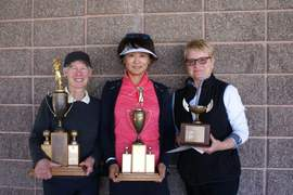 Bobbie Hoepner &nbsp&nbsp Maggie Lindquist (left) won Flight A, Phoebe Yu (middle) won Flight B and Chris Alibriandi won Flight C at the 88th annual Fry Brothers Match Play Tournament last Thursday. Claudia Leed won the Flight D match play.