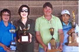 Bobbie Hoepner  The winners from left to right: D Flight winner Pam Curtis; C Flight winner Jean Cho; B Flight winner Claire Loud; and A Flight winner Tai Chewpanich.