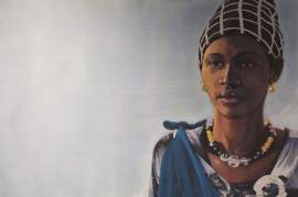 """Courtesy photo - Painter Dave George's """"Woman with Bead Necklace"""" will be auctioned off to raise money for two charities that benefit women and children in Africa tomorrow."""