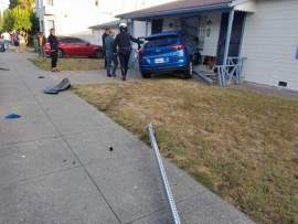 Jeremy Owens, courtesy Alameda Fire Department &nbsp&nbsp Residents on Lincoln Avenue were surprised to find a Hyundai sticking out of a home after a crash Oct. 16.