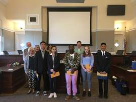 City of Alameda &nbsp&nbsp Winners of the City of Alameda's Season for Nonviolence Speech Contest high-school division pose with the judges of their division.