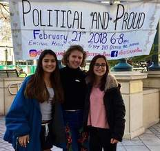 "Photo courtesy &nbsp&nbsp Encinal High School Encinal Junior-Senior High School's ""Political and Proud"" is one of the school programs that will be highlighted at Salute to Education on April 27. Pictured left to right: Sarah Skaff, Lily Conable and Anisya Lustig-Ellison."
