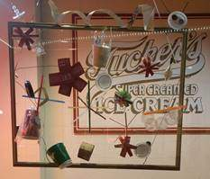 Courtesy photo &nbsp&nbsp  Stop by Tucker's to see the installation of student artwork made from litter picked up on Park Street.