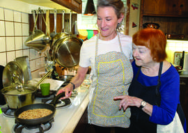 Mike Lano &nbsp&nbsp Culinary consultant Rosemary Mark, left, and Weezie Mott team up for a class at the Weezie Mott Cooking School of Alameda.