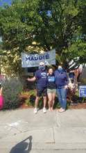 """Courtesy photo &nbsp&nbsp Maddie Macaskill celebrates """"Senior Signing"""" with her parents and neighbors."""