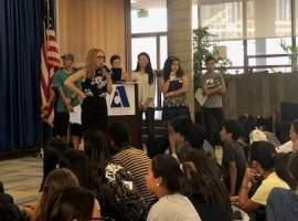 Courtesy AUSD &nbsp&nbsp Students at Alameda Science and Technology Institute held an assembly to help raise awareness of mental health in September.