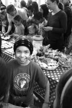 Miranda appears at the Maya Lin bake sale table, a very popular venue at the school's open house.
