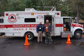 Courtesy photo. Alamedan Randy Lantz, right, poses with Ron Miller, a forensic psychologist and member of Mountain Wave Search and Rescue, while brushing up on the latest outdoor survival techniques in Oregon.