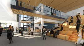 Courtesy College of Alameda &nbsp&nbsp Above, an architect's rendering of the College of Alameda's new Liberal Arts Building's lobby and gathering space. The building is currently under construction.