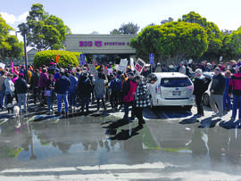 Dan Wood &nbsp&nbsp Demonstrators gathered outside Big 5 Sporting Goods at South Shore Center to protest its sales of assault-style weapons last Saturday.