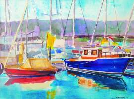 "Courtesy photo &nbsp&nbsp&nbsp ""Red and Blue,"" is an example of a watercolor by award-winning artist, Paul Feinberg. Feinberg created the painting outdoors as part of the Plein Aire Paintout."