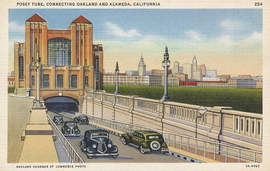 Courtesy photo &nbsp &nbsp Historic postcard courtesy of Alamedainfo.com shows the Posey Tube with the Oakland skyline behind it.