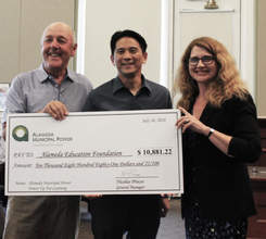 Courtesy photo &nbsp&nbsp Left to right: Alameda Education Foundation (AEF) President Bill Sonneman, AEF board member Daniel Chin and Public Utilities Board President Ann McCormick.