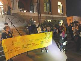 Grant Burningham &nbsp&nbsp As estimated 75 to 100 adults and children gathered on the steps of Alameda City Hall before last week's Council Meeting to bring attention to the fact that already this school year seven children have been involved in traffic collisions.