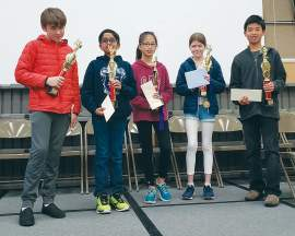 Eric J. Kos &nbsp&nbsp Alameda's top five spellers for 2020 include, left to right: Benjamin Kapelke, Akhil Mummidi, Grace Tan, Callista Frederick and Julian Chea. The top ten finishers all received prizes from local Alameda businesses.