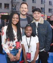 Courtesy photo &nbsp&nbsp Three members of Alameda Boys & Girls Club, left to right: Fatimah Grant, Siyah Youngblood and Camilo Gazino-Obrera, met Chris Pratt in person at the premiere of the new Pixar film, Onward.