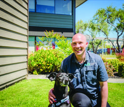 Dr. Tim Heath &nbsp &nbsp Dr. Tim Heath welcomes new patients to his multi-disciplinary practice on the West End. Patients might also get to visit with a regular at the clinic, Shobai the dog. Spending time with a pet reduces stress.