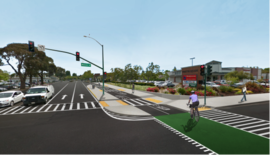 Illustration courtesy City of Alameda &nbsp&nbsp The intersection of Ralph Appezato Memorial Parkway and Webster Street will feature safer crossings soon.