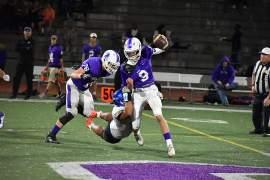 Robert Kaukahi &nbsp&nbsp Encinal Jet Defensive lineman William Ealelei makes a diving tackle to sack Piedmont quarterback Cal Barna.