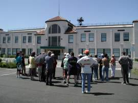 A history tour visits the historic terminal at Oakland Airport.