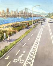 Photos courtesy Bike Walk Alameda. This watercolor by artist Markus Lui was sponsored by the city of Alameda last year to help envision what Alameda's cycle track could look like.