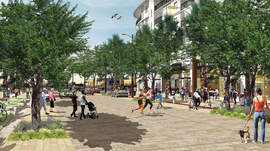 Courtesy Alameda Point Partners &nbsp&nbsp An architect's rendering suggests what a shared plaza in one of Alameda Point's mixed-use developments might look like when completed.