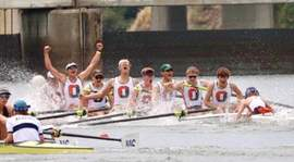 Courtesy photo &nbsp&nbsp Oakland Strokes Men's Junior Varsity 8 crosses the finish line to secure Gold