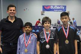 Pieke Franssen  &nbsp&nbsp  Alamedan Aziz Zarehbin (center) won the silver medal in the Under-13 division at the U.S. National Table Tennis tournament April 1. Ted Li (right) won the gold medal while Aneesh Rashavan (left) won bronze.