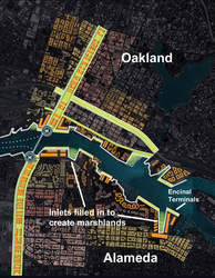 Resilient By Design &nbsp&nbsp The map above shows how inlets in Alameda's coastline could be converted to wetlands and absorb rising sea levels.