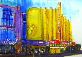 Photos courtesy George Powell &nbsp&nbsp The Alameda Theatre and Cineplex is but one of many subjects that have flowed from George Powell's brush.
